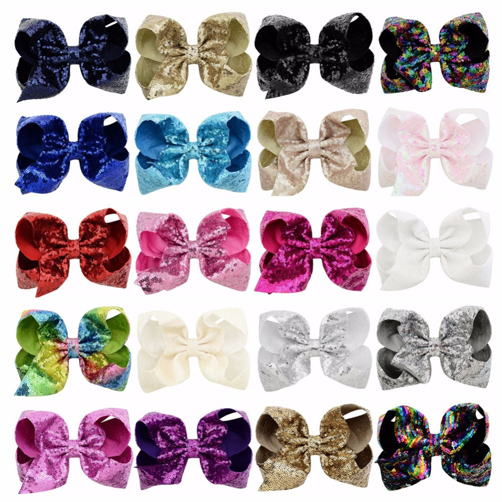 20pcs lot 8 Colorued New Stitching Glitter Sequin Bows with Dots Rainbow Color Hairpin Large Bow