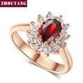De Calidad superior ZYR187 Creado Anillo de Bodas De Rubíes Rojo de Cristal Chapado En Oro Rosa Cristales Austriacos Completas Wholesale
