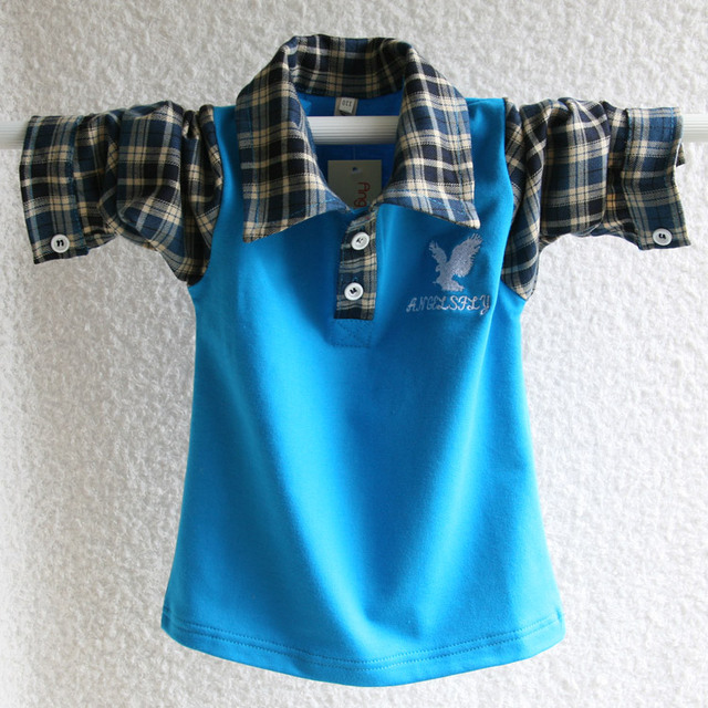 Korean big kids boys cotton long sleeved T-shirt autumn 2015 new children Plaid Shirt