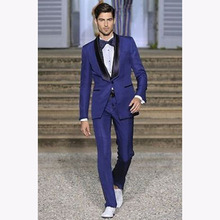 Royal Blue Men Suits Shawl Black Collar terno masculino 2017 Groomsmen Wedding Tuxedo Best Mens suit Party Wear kingsman Blazer