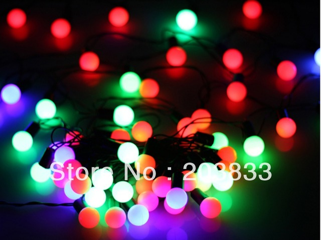 New 5M 50 RGB LED Ball Shape String Christmas Xmas Party Deco Light 220V