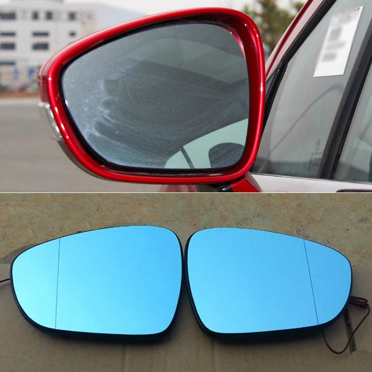 Ipoboo 2pcs New Power Heated w/Turn Signal Side View Mirror Blue Glasses For Peugeot 308