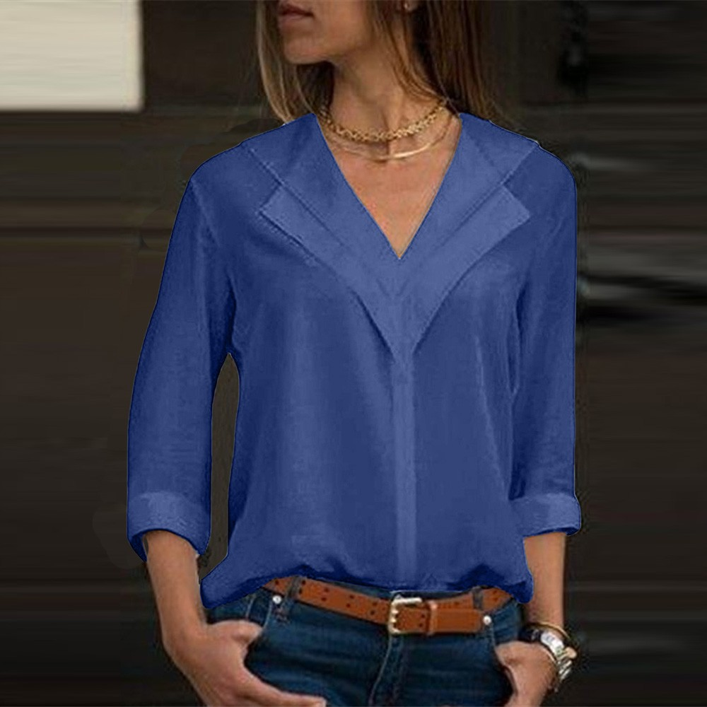 White  Long Sleeve Chiffon  Double V-neck Women Tops and  Solid Office Shirt Lady  Shirt Blusas DG0707