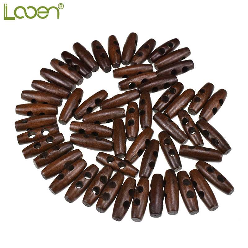 50 Pcs 3 0 1 0cm Looen Sewing Accessories Olive Shape Wood Sewing Horn Toggle Buttons 2 Holes Cloth Accessories DIY in Buttons from Home Garden