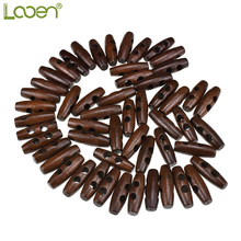 50 Pcs 3.0*1.0cm Looen Sewing Accessories Olive Shape Wood Horn Toggle Buttons 2 Holes Cloth DIY