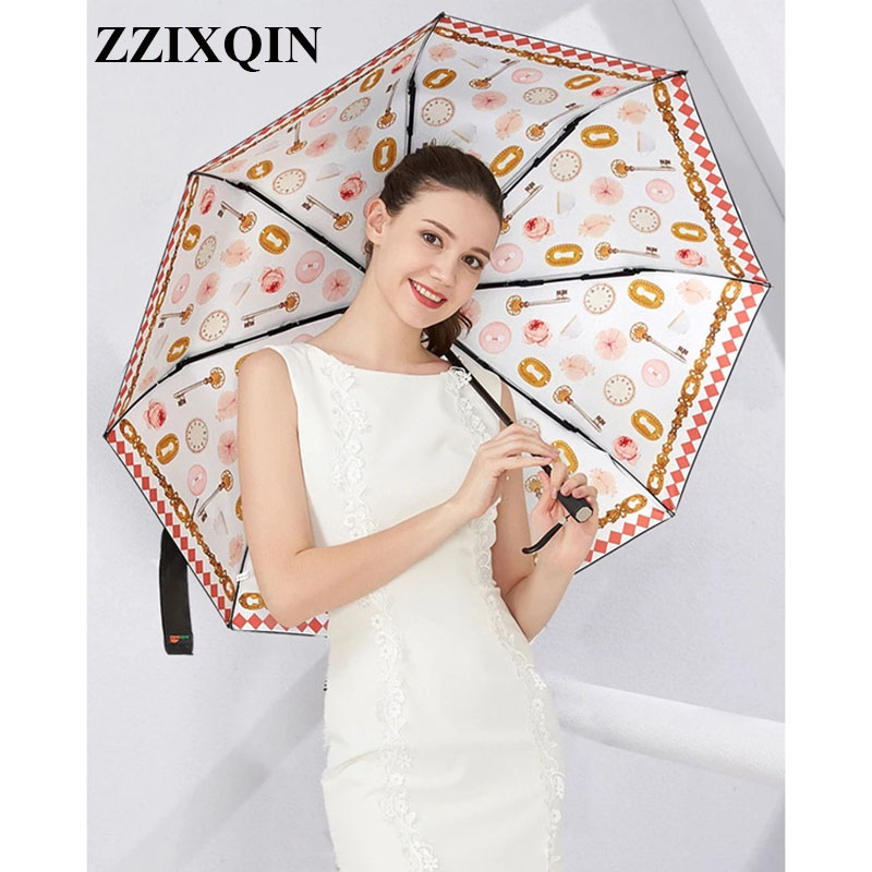 2018 Three Fold Zero Light Full Cover Sunscreen Black Plastic Umbrella Automatic Rain Umbrella Aluminum Alloy Automatic Umbrella