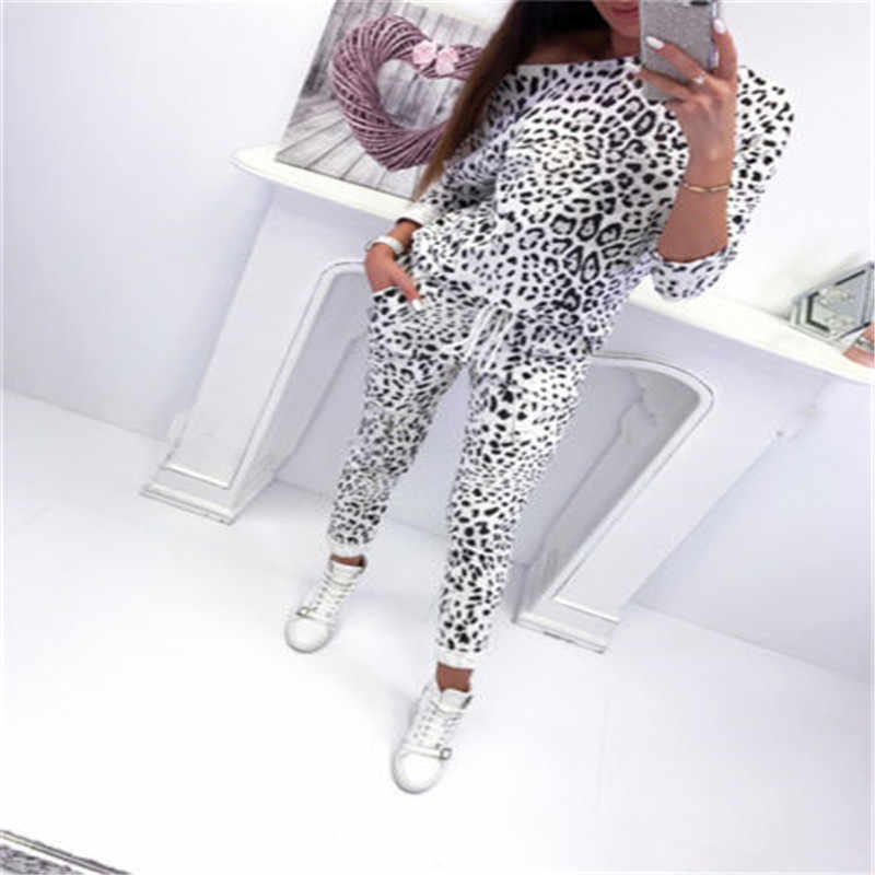 Tracksuit 2pcs Women Set Hoodies Crop Top Sweatshirt Leopard Camouflage Pants Hooded 2 Pieces Sets Women Clothing Suits Female