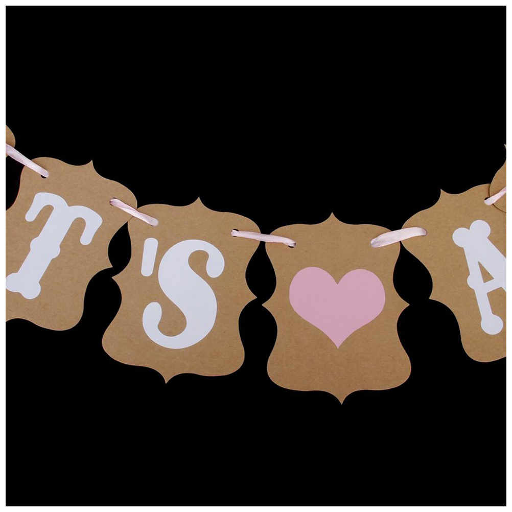 Best Baby Shower Garland IT S A GIRL Bunting Banner Christening Decoration Baby Birthday Party Favors Brown+White