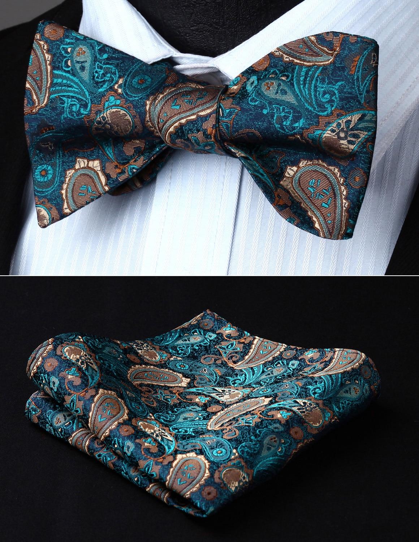 Classic Wedding BP711QS Green Brown Pailey Bowtie Men Silk Self Bow Tie handkerchief set Party  Pocket Square