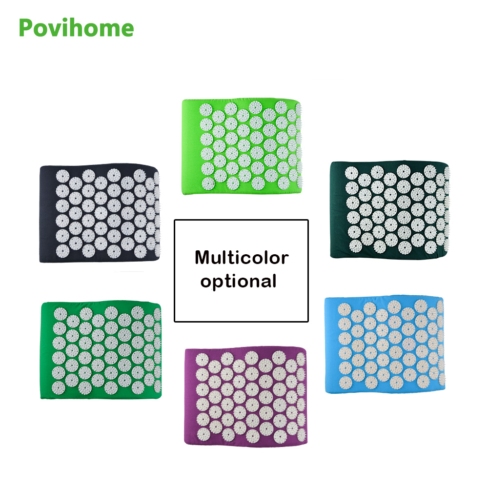 Povihome Massager Pillow Acupressure Mat Relieve Stress Pain Acupuncture Spike Yoga Pillow for Relieve Stress Pain Relief povihome 1set massage cushion acupressure therapy mat relieve stress pain relief acupuncture spike yoga mat with pillow d06874