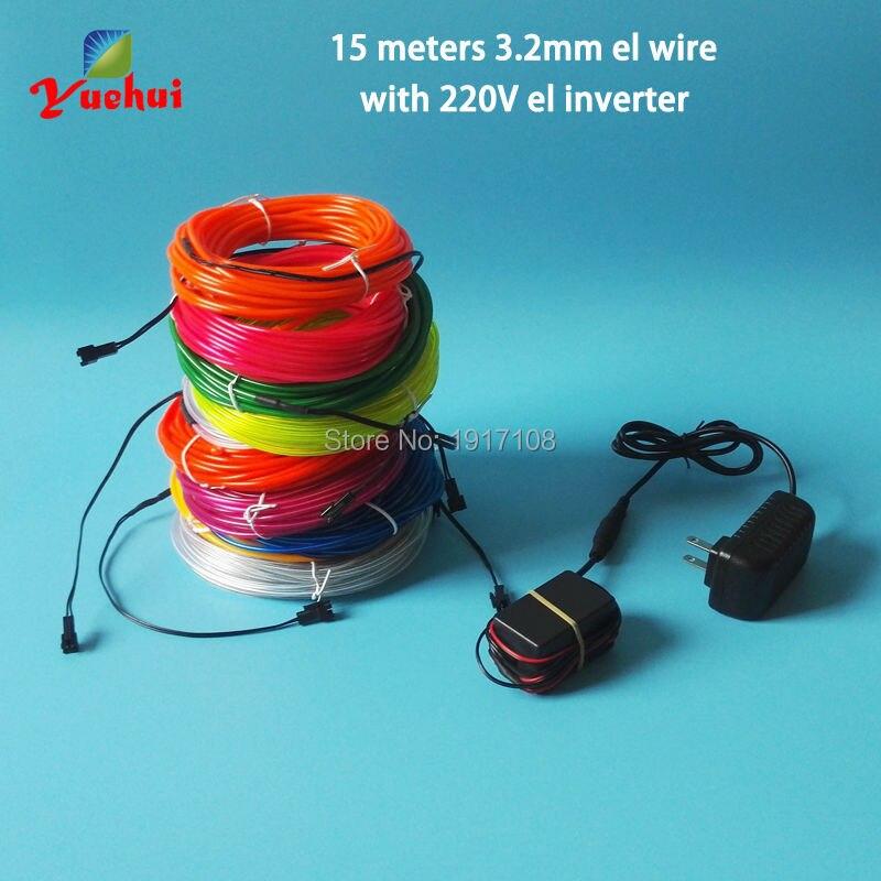 Дешево! 15 метров 3.2 мм пользовательские Цвета Мода el wire набор Мигающие неоновые холодный свет создано 100 В-220 В день рождения поставки