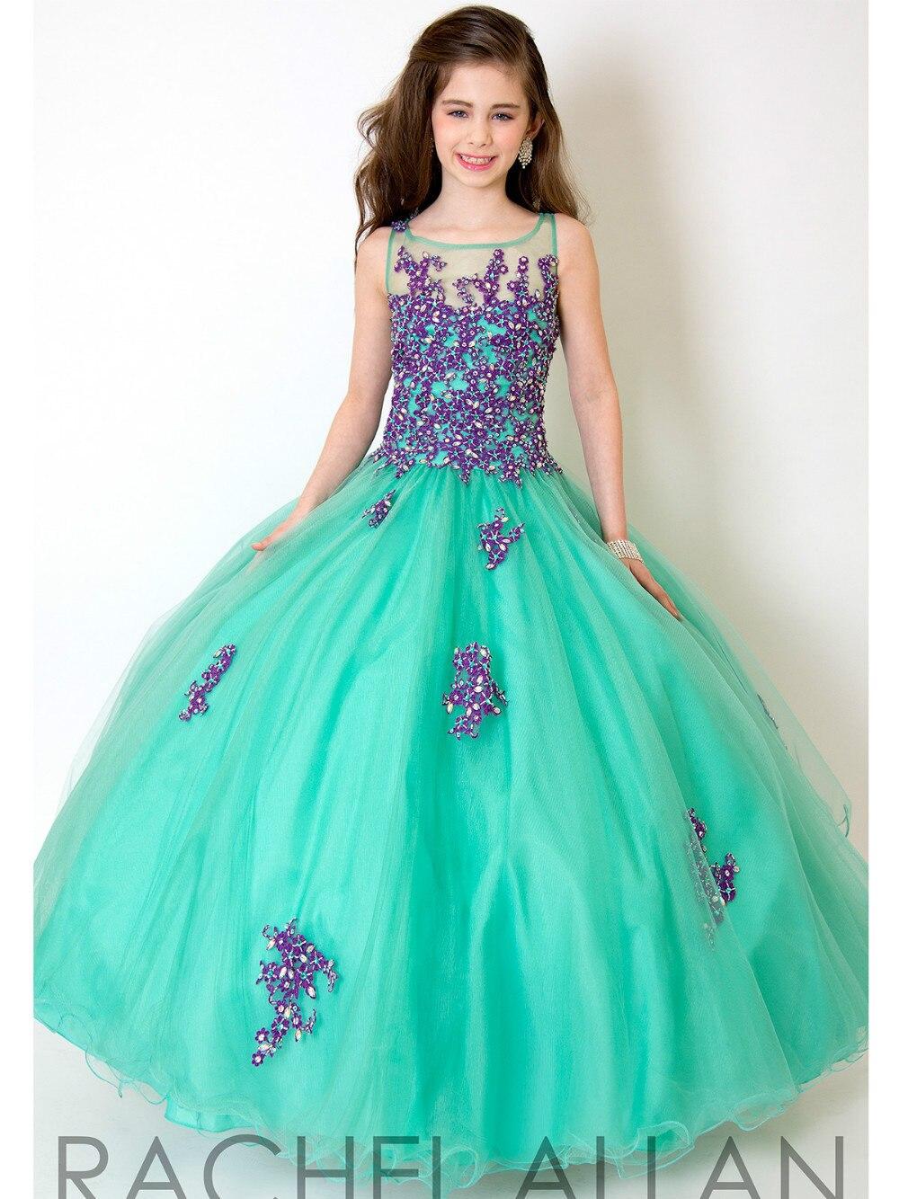 White Peach Blue Purple Lace Applique 2017 Little Girls Pageant Dress Floor  Length Tulle Flower Girls Dresses For Weddings-in Flower Girl Dresses from  ... 94273f9120ac