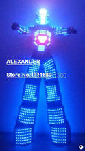 LED robot Costume /led lights costumes/LED Clothing/Light suits/ The chest video, Helmet programming/LED Robot suits