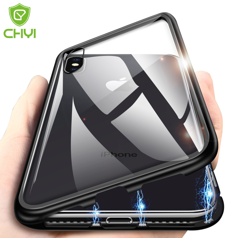detailed look 9b940 d72fa US $3.69 18% OFF|CHYI Built in Magnetic Case for iPhone X XR XS Max Metal  Magnet Adsorption Case for iPhone 7 8 Plus 6 6S Back Cover Free Glass-in ...