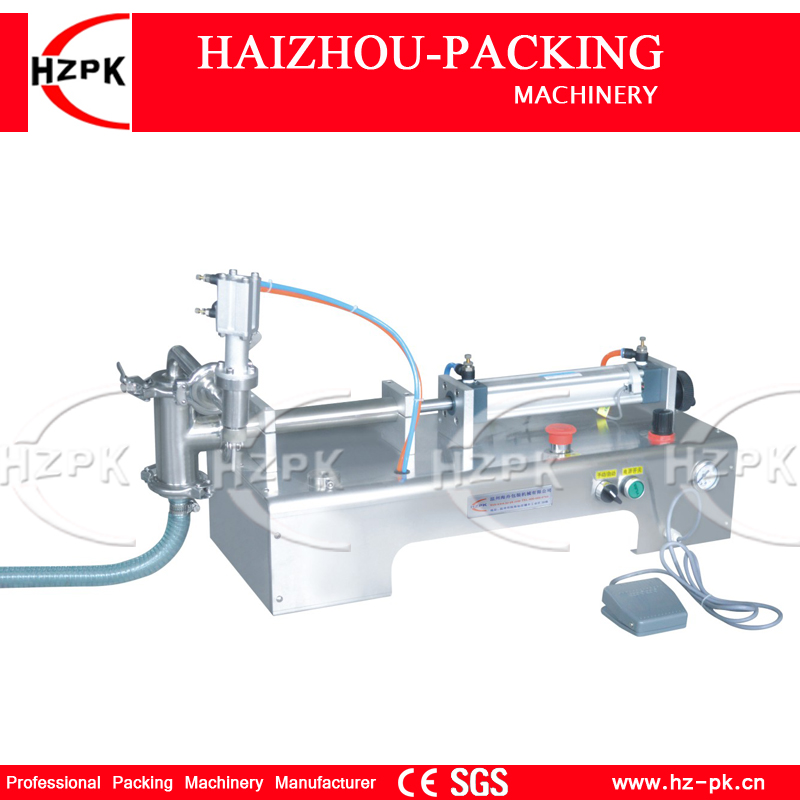 HZPK Filler Liquid Machine 304 Stainless Steel Horizontal Single Filling Nozzle Bottle Filling Water Machine 50-500ml G1WYD500