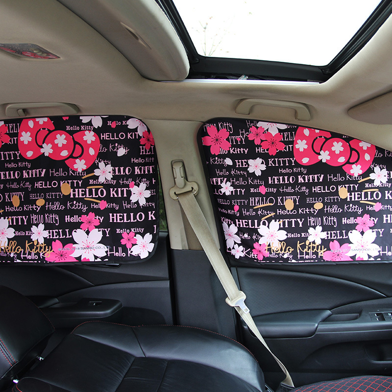 Image 4 - Car Window Sunshade Cover Kitty Cat Cartoon Magnetic Side Sun Shade Curtain Universal Side Window Sunshade-in Side Window Sunshades from Automobiles & Motorcycles