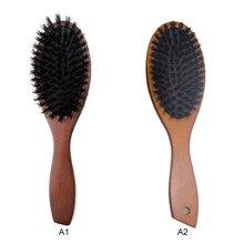 Magic Natural Bristle Wooden Hair Comb  Massage Anti-static Scalp Paddle Brush Tangle Hairdressing Salon care Tool
