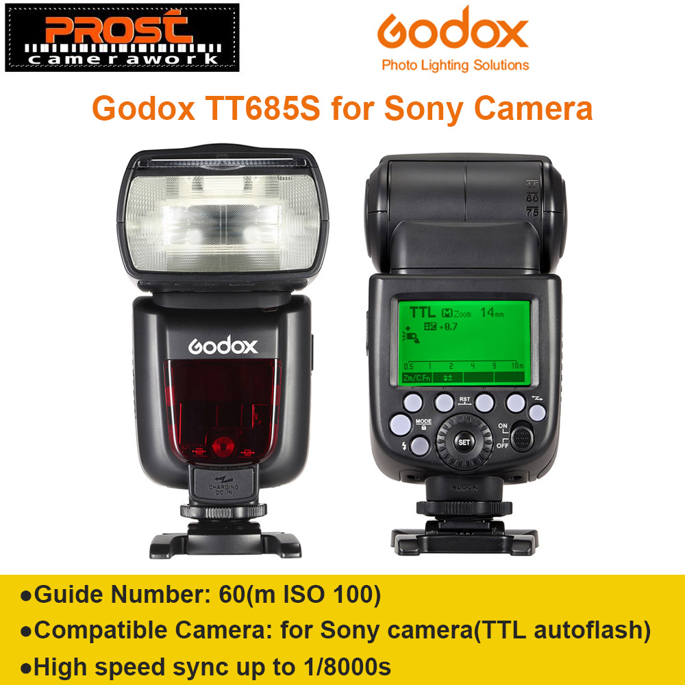 Godox TT685S TTL Hamba Flash Hamba Flash HSS 1 / 8000S GN60 2.4G Wireless Speedlite Penghantaran untuk Kamera Sony