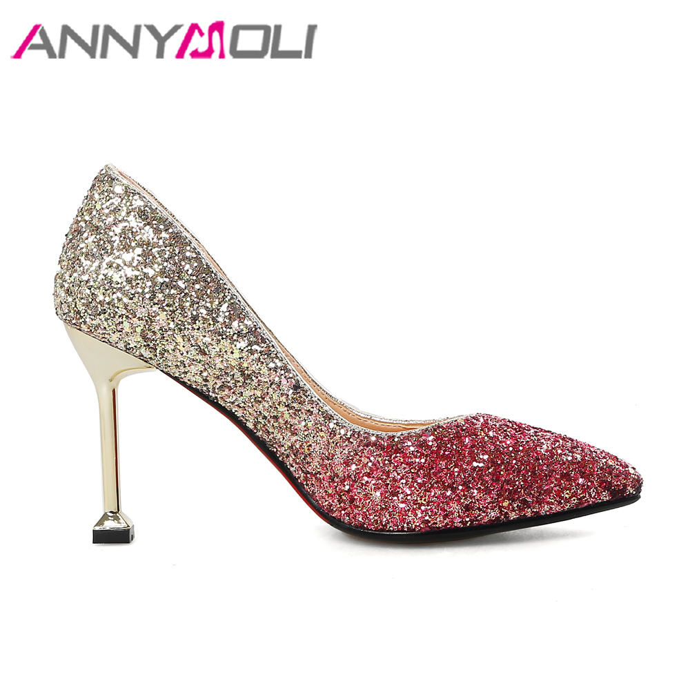 ANNYMOLI Women Pumps High Heels Wedding Shoes Bridal Bling Kitten Heel  Fashion Ladies Shoes White Pointed Toe Large Size 33 43-in Women s Pumps  from Shoes ... 6846a9040bd7