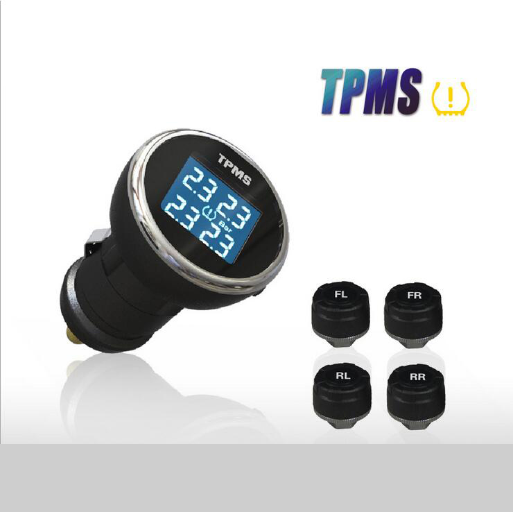 Fashion New TPMS Tyre Pressure Monitoring System + 4 External Sensors Professional Cigarette Lighter tmps Tire Pressure Alarm tp200 tpms car wireless tire pressure monitoring system 4 mini sensors cigarette tyre pressure monitoring