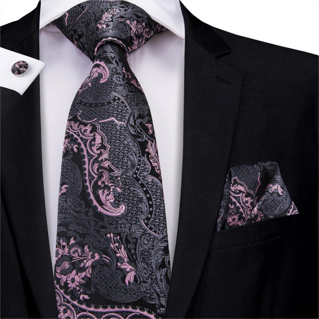 Silk Ties For Men Gray Floral  Necktie Pink Neck Tie Hand Pocket Cufflink Set Tie For Suit Wedding 150cm Hi-Tie C-3209 Wholesale