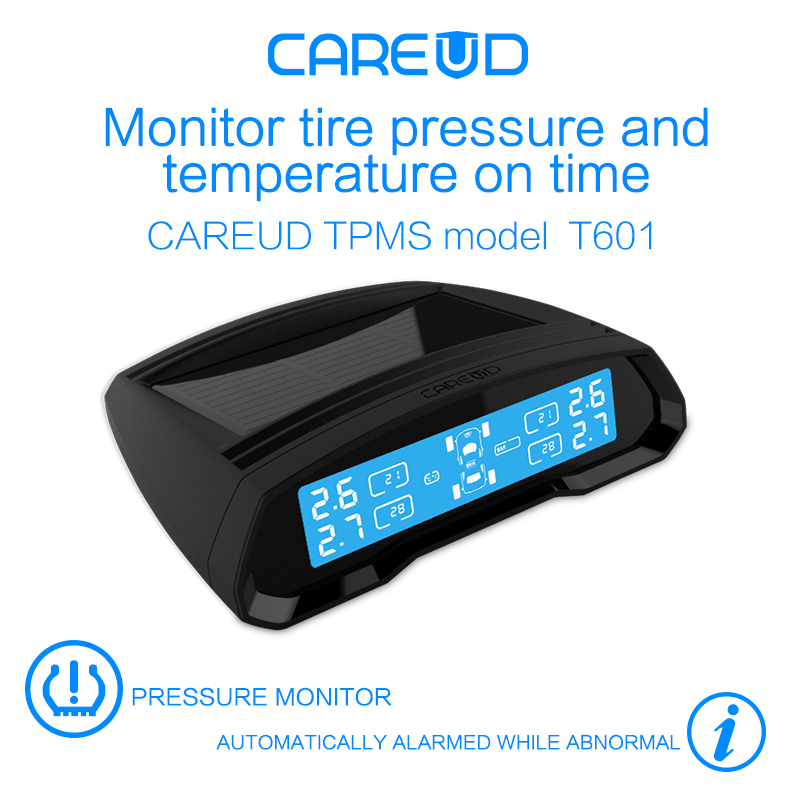 TPMS LCD Display Car Wireless Tire Tyre Pressure Monitoring System 4 External Sensor For Cars Solar Power CAREUD Diagnostic Tool special tpms newest technology car tire diagnostic tool with mini external sensor auto wireless universal tpms