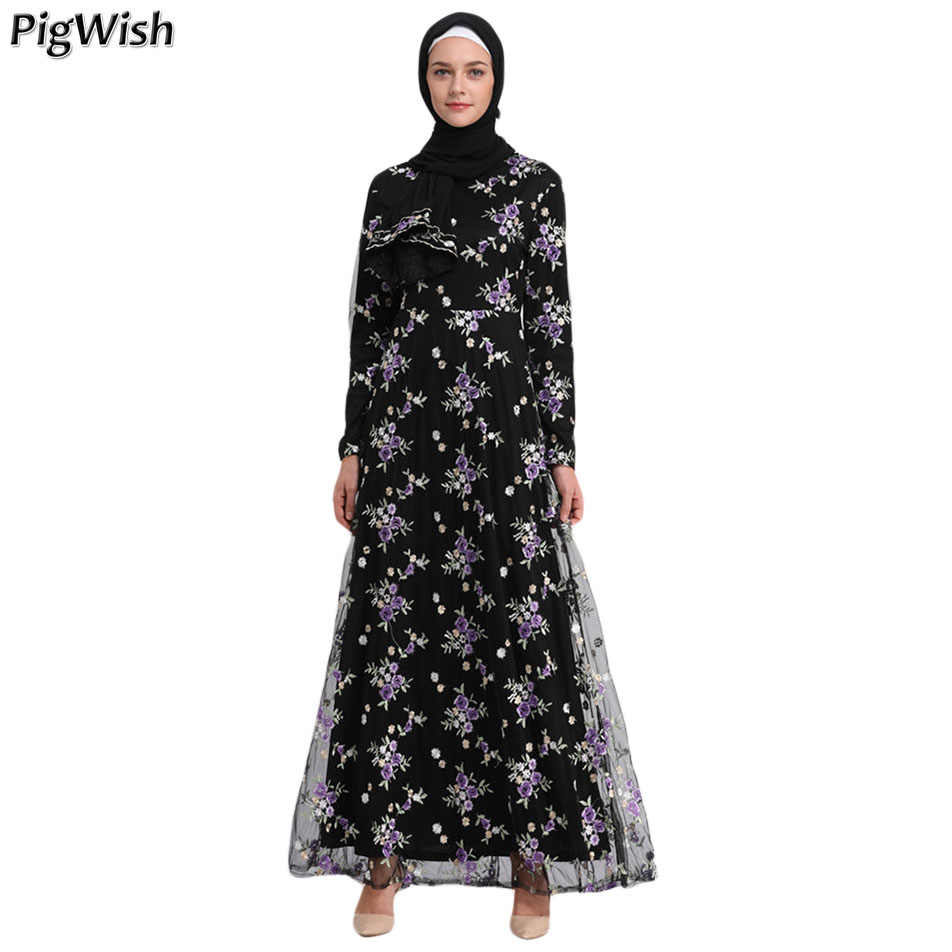 Abaya Dubai Women Embroidery Floral Lace Dress Long Sleeve Turkey Moroccan  Kaftan Islamic Arabic Muslim Hijab