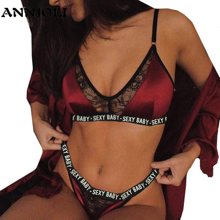 ANNJOLI 3XL Plus Size Sexy Lingerie   Set   Bralette Women   Bra   Letter Print Lace Patchwork Women Underwear   Sets     Bra   and Panty   Set