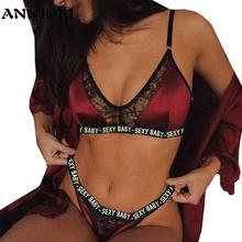 ANNJOLI 3XL Plus Size Sexy Lingerie Set Bralette Women Bra Letter Print Lace Patchwork Women Underwear Sets  Bra and Panty Set
