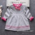 Camisola da menina do inverno vestido de 2016 marca de moda infantil linha de malha sweater dress O pescoço de manga comprida vestido 2-6A crianças roupas