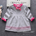 winter girl sweater dress 2016 fashion brand children knit line sweater dress O neck long sleeve dress 2-6Y children clothes