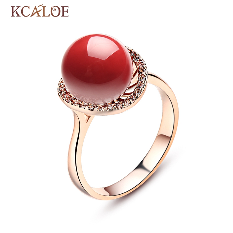 KCALOE Big Round Red Artificial Coral Stone Rose Gold Color Cubic Zirconia Engagement Rings For Women Anillos Rubi Mujer