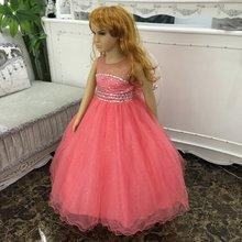Frete Grátis Forro de Algodão 2-12 Anos de Menina Vestidos de Festa 2017 nova Chegada Vermelho Vestido Da Menina de Tule Crianças Vestidos de Noite Com Agitação(China)