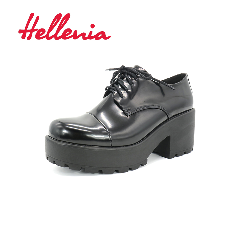 Hellenia New Arrive Autumn High Quality Wedding Party Shoes Comforatable Med Heels Rounded Toe  Woman Lace Up Pump in 2017