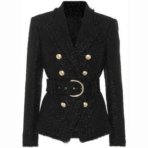 Image 1 - חדשה באיכות גבוהה אופנה 2020 סתיו חורף מעצב בלייזר מעיל נשים של כסף גליטר לשרוך חגורת בלייזר מעיל