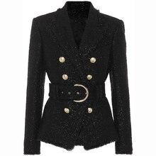 Alta qualidade nova moda 2020 outono inverno designer blazer jaqueta feminina prata glitter lacing cinto blazer casaco