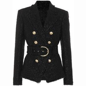 Image 1 - HOHE QUALITÄT Neue Mode 2020 Herbst Winter Designer Blazer Jacke frauen Silber Glitter Schnürung Gürtel Blazer Mantel