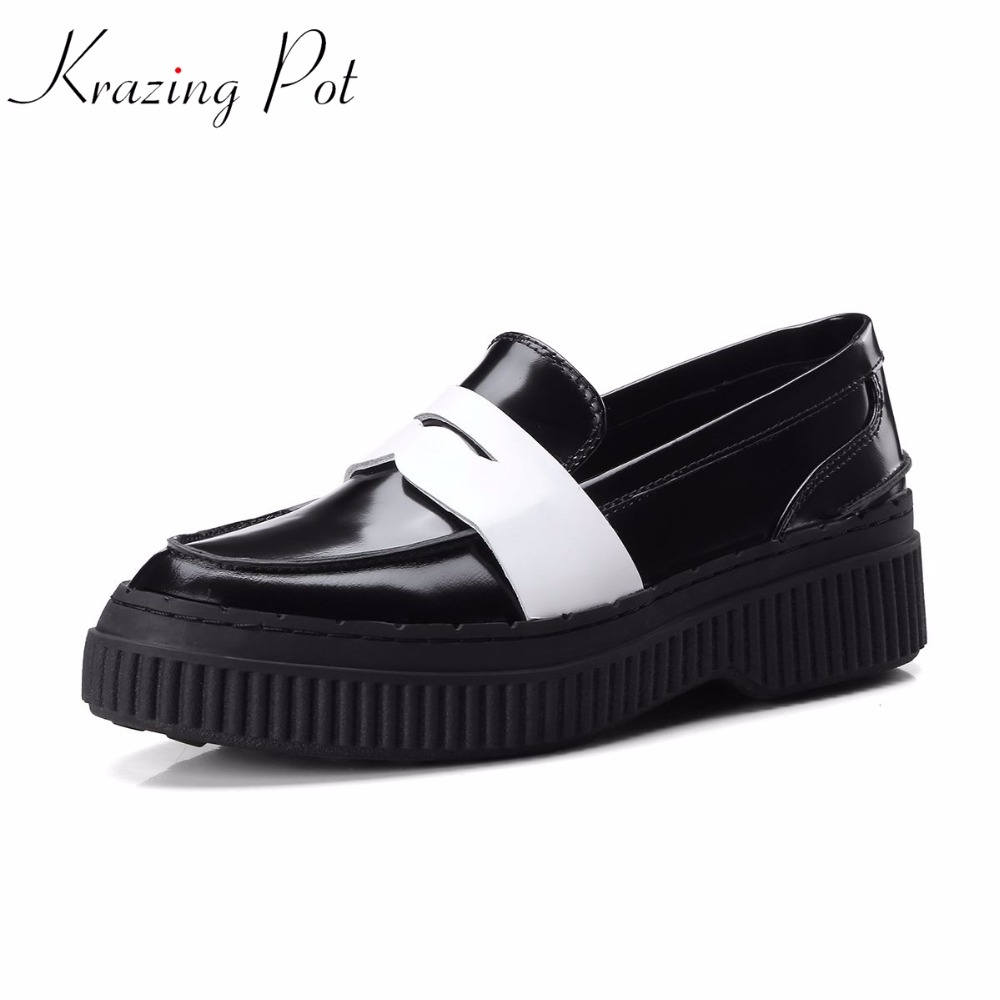 krazing Pot new genuine leather slip on streetwear platform shoes pumps women mixed color high heels round toe British shoes L26 2018 superstar genuine leather streetwear med heels tassel slip on women pumps round toe retro sweet handmade casual shoes l03