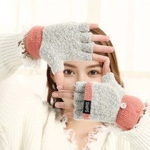 Warm Gloves NEW cute lady winter five-fingered flip-over knitted wool gloves outdoor thickening stitching warmth protector