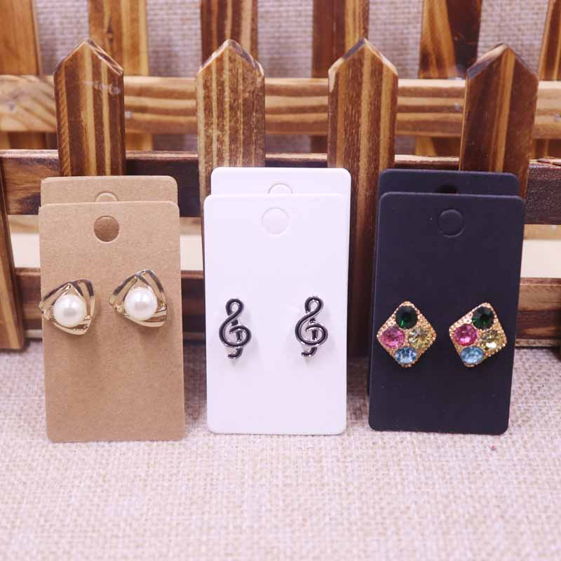 100 pcs Earring Card 60x35mm  300gsm paper cardboard  Kraft/White/Black  Wholesale Free Shipping  Can Custom Logo  Cost Extra(China)