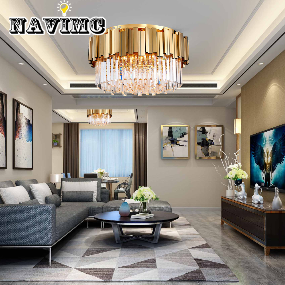 round gold crystal chandelier for ceiling luxury modern