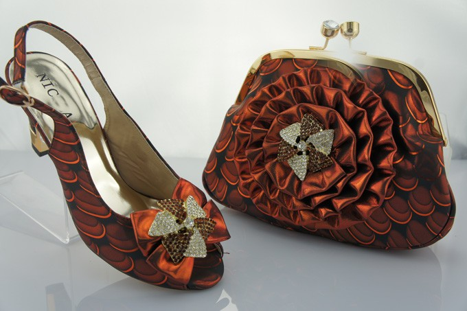 A9801 Coffee Color Free Shipping Fashion Shoe And Matching Bag Sets Italian For font b Woman