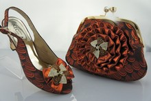 A9801 Coffee Color,Free Shipping!Fashion Shoe And Matching Bag Sets Italian For Woman Party And Wedding Wholesale size 40 and 41