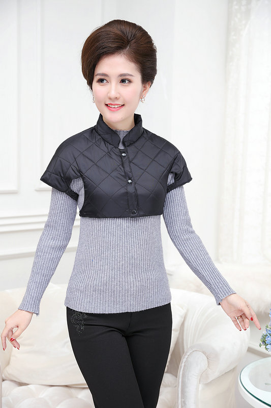 Woman Puffer Shoulder Padded Vest Winter Autumn Women Quilted Shoulder Pad Waistcoats Female Stand Collar Wadded Weskit Womens Belero Vest (17)