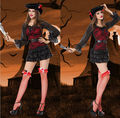 2016 карибский пиратский костюм воина сексуальные женщины хэллоуин пиратский костюм платье женщин фантазии фэнтези необычные ну вечеринку косплей