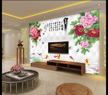 2m*1.5m 3D custom classic Chinese style peony floral painting wallpaper waterproof for living room TV Sofa bedroom background free shippinggentleman plum peony flower chinese tv sofa backdrop living room bedroom hotel s large mural wallpaper custom size