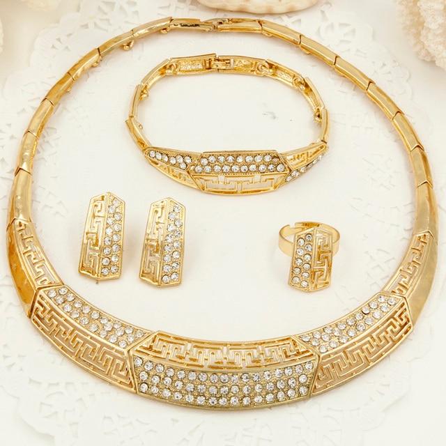 2017 Dubaï Cristal Mariée ensembles De bijoux De Mariage Italie De Mode  Femmes D\u0027or