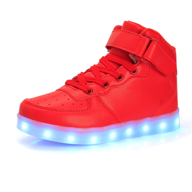 STRONGSHEN Led Children Shoes 2018 USB Charging Basket Shoes With Light Up Kids Casual Boys&Girls Luminous Sneakers Gold silver