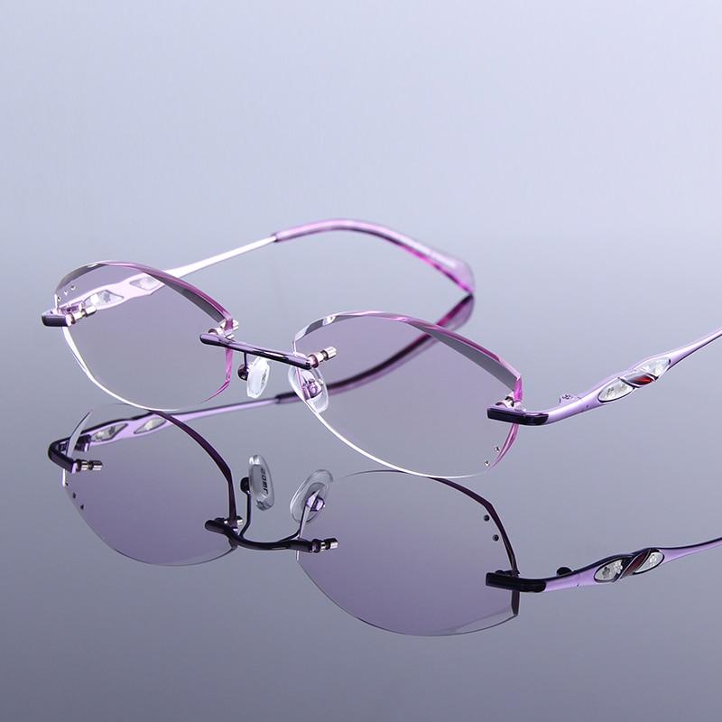 Lesebrille Anti Presbyopie Strass Gafas Mode reflektierende De Leser Mujer Brillen Lila Randlose Beschichtung Frauen Cqxwxtg