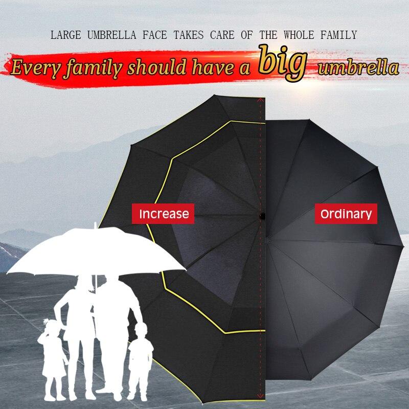 Image 3 - 130cm Umbrella Rain Women Men 3Folding Portable Double Layer Outdoor Large Paraguas Strong Windproof Business For Men UmbrellasUmbrellas   -